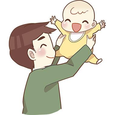 赤ちゃんをあやす